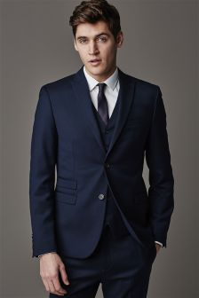 Navy Blue Skinny Fit Suit: Jacket