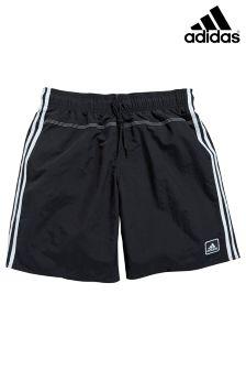 adidas Black/White 3 Stripe Aqua Swim Short