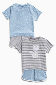 Blue Cat Short Pyjamas Two Pack (3-16yrs)