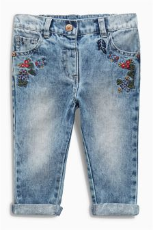 Denim Light Blue Embroidered Jeans (3mths-6yrs)