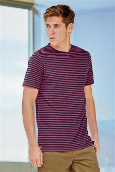 Indigo And Pink Stripe Pocket T-Shirt