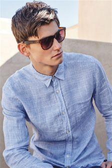 Blue Linen Check Long Sleeve Shirt
