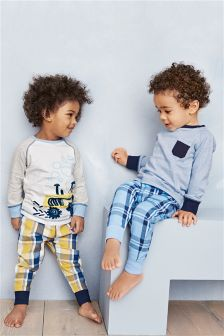 Blue/Yellow Check Pyjamas Two Pack (9mths-8yrs)