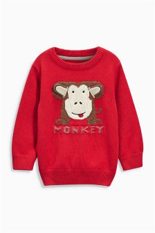 Red Monkey Crew Neck Jumper (3mths-6yrs)