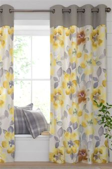 Ochre Watercolour Bloom Eyelet Curtains