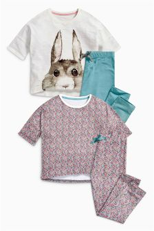 Ecru Bunny And Floral Pyjamas Two Pack (3-16yrs)