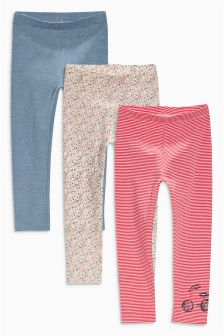 Navy/Pink Embellished Leggings Three Pack (3mths-6yrs)