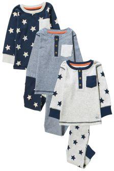 Grey/Navy Star Pyjamas Three Pack (9mths-8yrs)