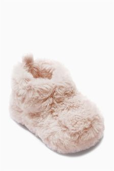 Pink Faux Fur Booties (0-12mths)