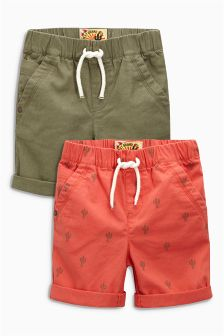 Khaki/Coral Cactus Shorts Two Pack (3mths-6yrs)