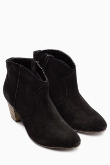 Suede Heeled Western Boots