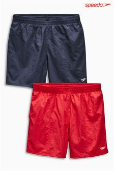 "Navy/Red Speedo® Solid Leisure 16"" Water Shorts Two Pack"