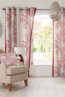 Cotton Elegant Trail Print Eyelet Curtains