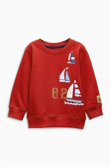 Red Boat Appliqué Crew (3mths-6yrs)