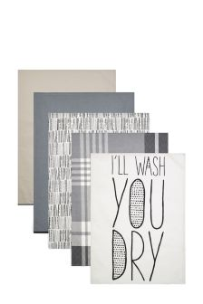 Set Of 5 Monochrome Tea Towels