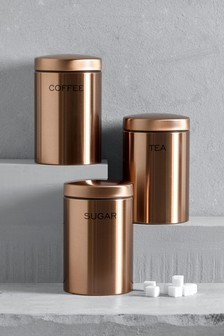 Set Of 3 Copper Effect Storage Jars