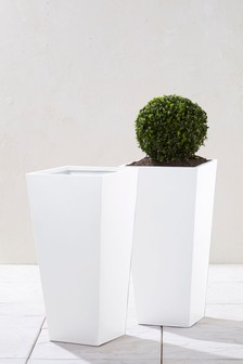 Set Of 2 Tall Lightweight Metal Planters