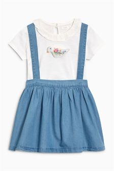 White/Blue Pinafore And T-Shirt Set With 3D Bird Appliqué (3mths-6yrs)