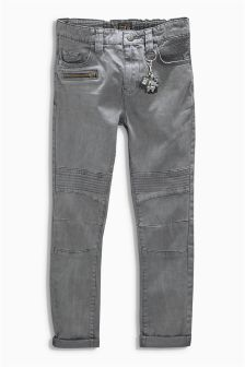 Grey Skinny Biker Trousers (3-16yrs)