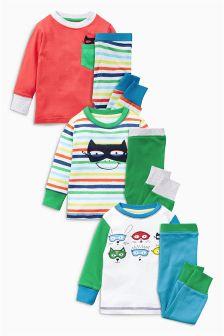 Multi Hero Pyjamas Three Pack (9mths-8yrs)