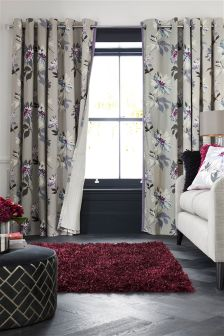 Plum Delicate Floral Print Eyelet Curtains
