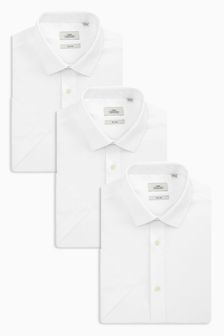 Three Pack Plain White Shirts