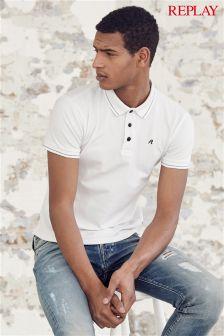 White Replay® Small Logo Polo Shirt