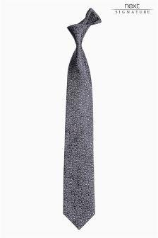 Grey Signature Made in England Silk Pattern Tie