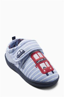 Blue Stripe Bus Slippers (Younger Boys)