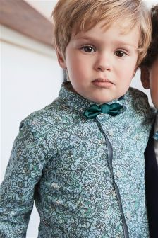 Blue/Green Floral Print Shirt With Bow Tie (3mths-6yrs)