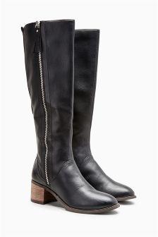 Zip Detail Block Heel Long Boots