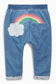 Mid Blue Rainbow Pull-On Jeans (3mths-6yrs)