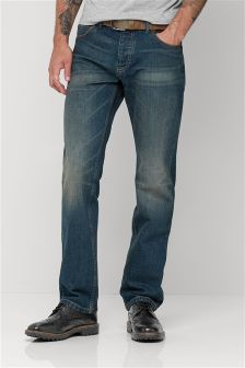 Teal Wash Belted Jeans