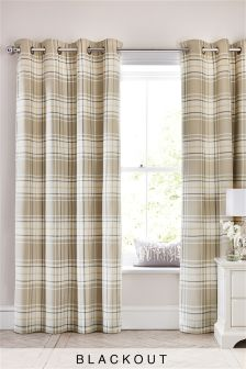 Natural Check Blackout Eyelet Curtains