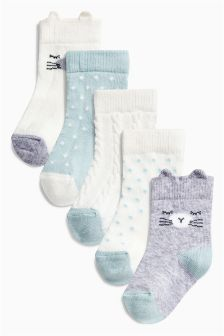 Grey Cat Character Socks Five Pack (Younger Girls)