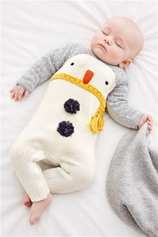 Grey Snowman Romper (0mths-2yrs)