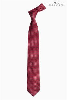 Red Signature Italian Silk Patterned Tie
