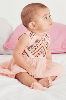 Pink Embroidered Dress (0mths-2yrs)