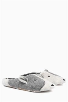 Monochrome Patch Dog Mule Slippers