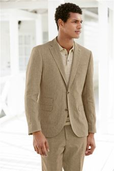 Sand Delave Linen Tailored Fit Jacket