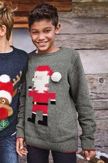Grey Christmas Geo Santa Jumper (3-16yrs)