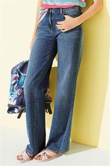 Mid Blue Wide Leg Jeans
