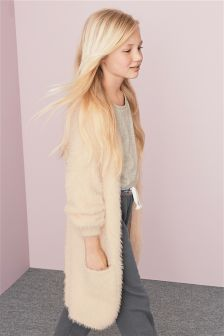 Cream Fluffy Texture Cardigan (3-16yrs)