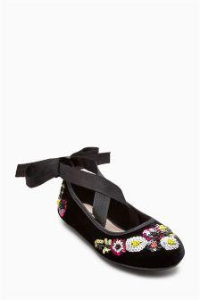 Black Floral Embellished Ballerinas (Older Girls)