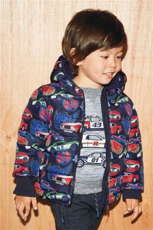 Navy/Red Padded Car Print Jacket (3mths-6yrs)
