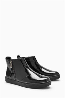 Black Patent Zip -Up Boots