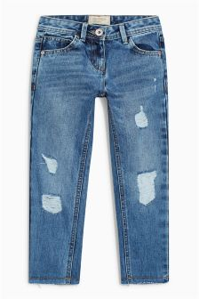 Mid Blue Distressed Relaxed Fit Jeans (3-16yrs)