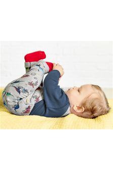 Multi Printed Jersey Dino Dungarees (0mths-2yrs)