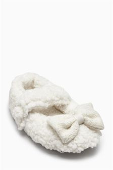 Ecru Bow Slippers (Younger Girls)