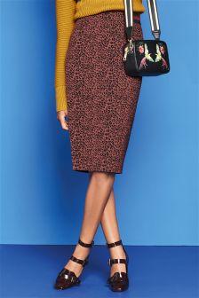 Berry Animal Print Jacquard Pencil Skirt